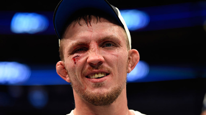 DALLAS, TX - MAY 13: Jason Knight celebrates his TKO victory over Chas Skelly in their featherweight fight during the UFC 211 event at the American Airlines Center. (Photo by Josh Hedges/Zuffa LLC)