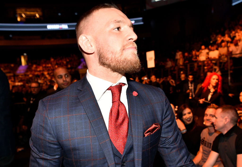 GDANSK, POLAND - OCTOBER 21: UFC lightweight champion Conor McGregor is seen in attendance during the UFC Fight Night event inside Ergo Arena on October 21, 2017 in Gdansk, Poland. (Photo by Jeff Bottari/Zuffa LLC)