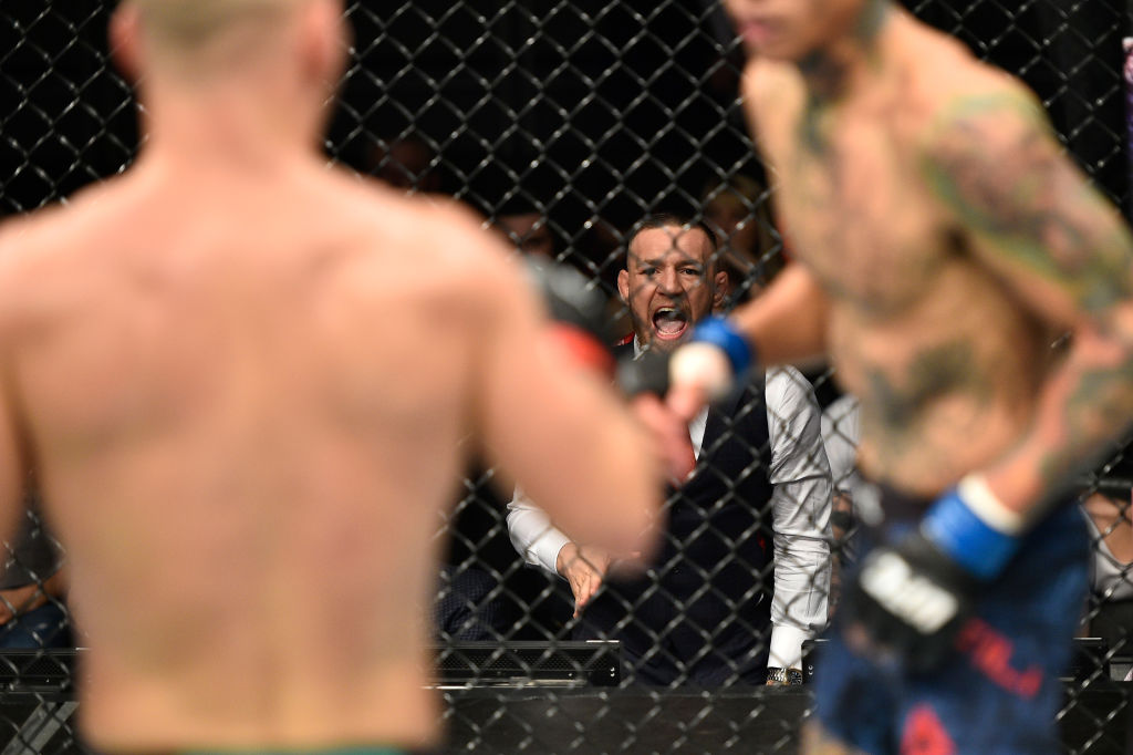 GDANSK, POLAND - OCTOBER 21: UFC lightweight champion Conor McGregor cheers on teammate Artem Lobov in his featherweight bout against Andre Fili during the UFC Fight Night event inside Ergo Arena on October 21, 2017 in Gdansk, Poland. (Photo by Jeff Bottari/Zuffa LLC)