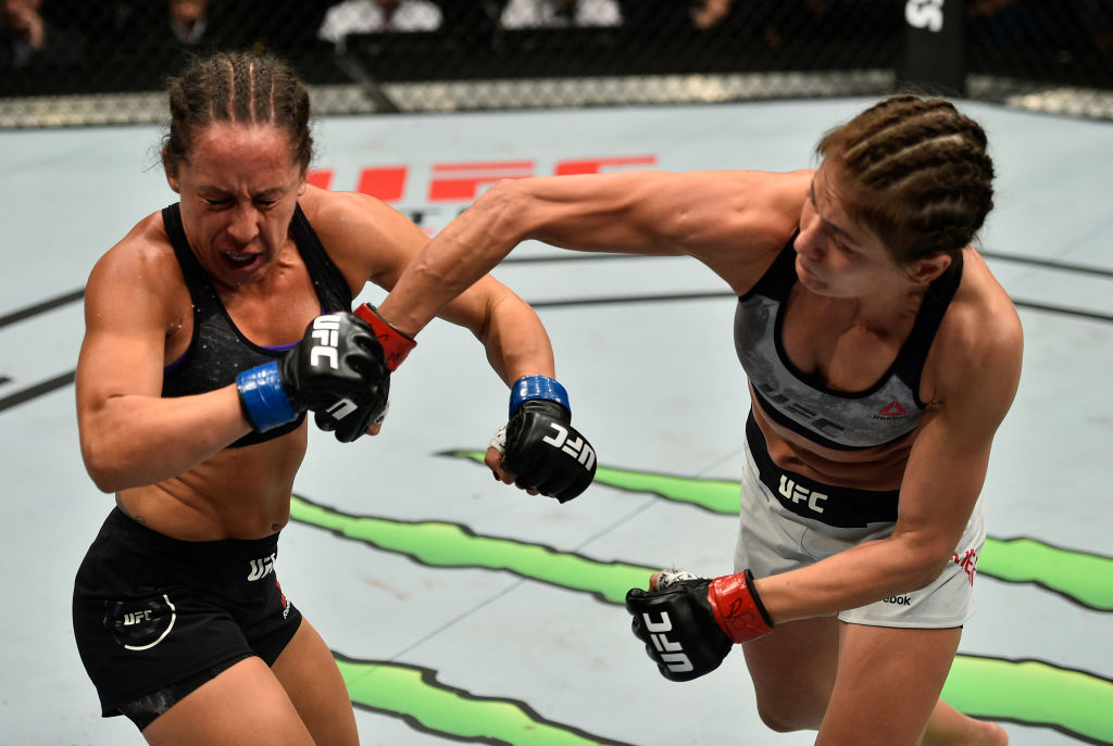 GDANSK, POLAND - OCTOBER 21:  (R-L) Karolina Kowalkiewicz of Poland punches Jodie Esquibel in their women's strawweight bout during the UFC Fight Night event inside Ergo Arena on October 21, 2017 in Gdansk, Poland. (Photo by Jeff Bottari/Zuffa LLC)