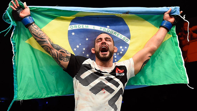 HALIFAX, NS - FEBRUARY 19: Santiago Ponzinibbio of Argentina celebrates after defeating Nordine Taleb of France in their welterweight fight during the UFC Fight Night event inside the Scotiabank Centre on February 19, 2017 in Halifax, Nova Scotia, Canada. (Photo by Josh Hedges/Zuffa LLC)