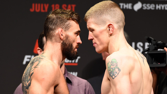 Opponents Robert Whiteford of Scotland and Paul Redmond of Ireland face off during the UFC weigh-in inside the SSE Hydro on July 17, 2015 in Glasgow, Scotland. (Photo by Josh Hedges/Zuffa LLC)