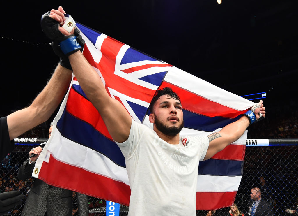 GLENDALE, AZ - APRIL 14: Brad Tavares celebrates his victory over <a href='../fighter/Krzysztof-Jotko'>Krzysztof Jotko</a> of Poland in their middleweight fight during the <a href='../event/UFC-Silva-vs-Irvin'>UFC Fight Night </a>event at the Gila Rivera Arena on April 14, 2018 in Glendale, Arizona. (Photo by Josh Hedges/Zuffa LLC/Zuffa LLC via Getty Images)