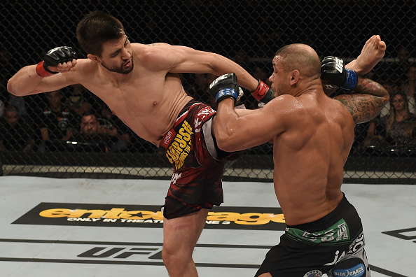 GOIANIA, BRAZIL - MAY 30:  Carlos Condit kicks Thiago Alves in their welterweight UFC bout in Goiania, Brazil. (Photo by Buda Mendes/Zuffa LLC/Zuffa LLC)