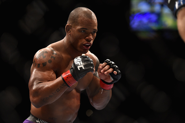 <a href='../fighter/Hector-Lombard'>Hector Lombard</a> squares off with Josh Burkman in their welterweight bout during UFC 182