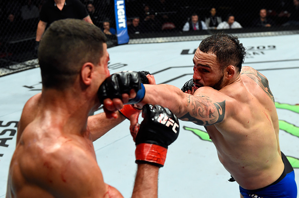 HALIFAX, NS - FEBRUARY 19: (R-L) <a href='../fighter/santiago-ponzinibbio'>Santiago Ponzinibbio</a> of Argentina punches <a href='../fighter/nordine-taleb'>Nordine Taleb</a> of France in their welterweight fight during the <a href='../event/UFC-Silva-vs-Irvin'>UFC Fight Night </a>event inside the Scotiabank Centre on February 19, 2017 in Halifax, Nova Scotia, Canada. (Photo by Josh Hedges/Zuffa LLC/Zuffa LLC via Getty Images)