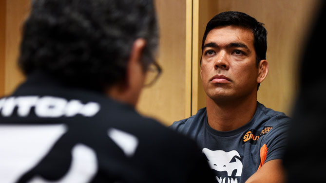 Lyoto Machida of Brazil has his hands wrapped prior to his middleweight bout against Luke Rockhold during the UFC Fight Night event at Prudential Center on April 18, 2015 in Newark, New Jersey.  (Photo by Jeff Bottari/Zuffa LLC)