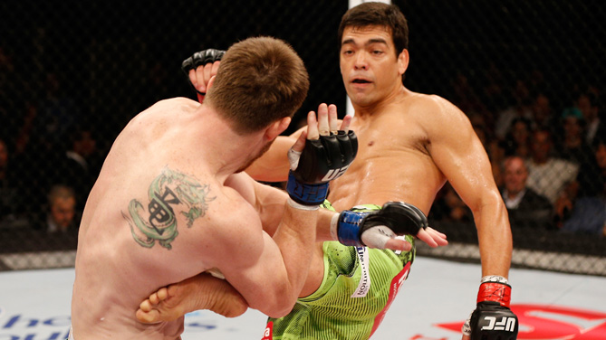 Lyoto Machida of Brazil kicks CB Dollaway of the United States in their middleweight fight during the UFC Fight Night event inside the Ginasio Jose Correa on December 20, 2014 in Barueri, Brazil. (Photo by Josh Hedges/Zuffa LLC)