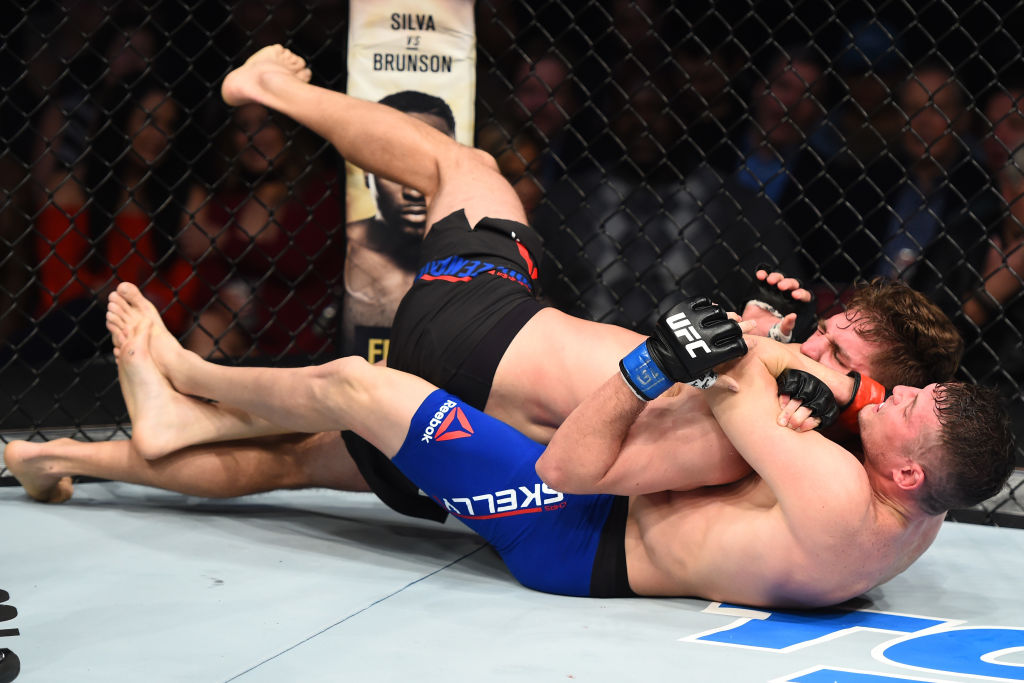 Chas Skelly submits Chris Gruetzemacher in their featherweight bout. (Photo by Jeff Bottari/Zuffa LLC/Zuffa LLC via Getty Images)