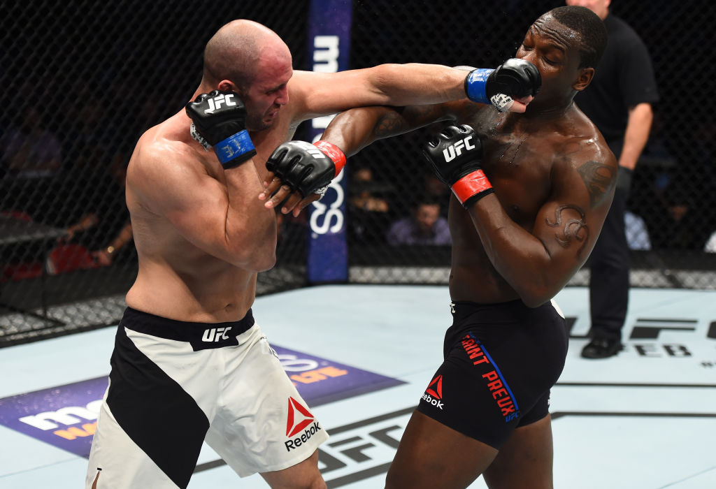 HOUSTON, TX - FEBRUARY 04:  (L-R) Volkan Oezdemir of Switzerland punches Ovince Saint Preux in their light heavyweight bout during the UFC Fight Night event at the Toyota Center on February 4, 2017 in Houston, Texas. (Photo by Jeff Bottari/Zuffa LLC)