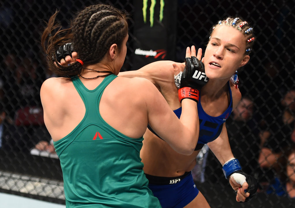 HOUSTON, TX - FEBRUARY 04:  (R-L) Felice Herrig punches Alexa Grasso of Mexico in their women's strawweight bout during the UFC Fight Night event at the Toyota Center on February 4, 2017 in Houston, Texas. (Photo by Jeff Bottari/Zuffa LLC)