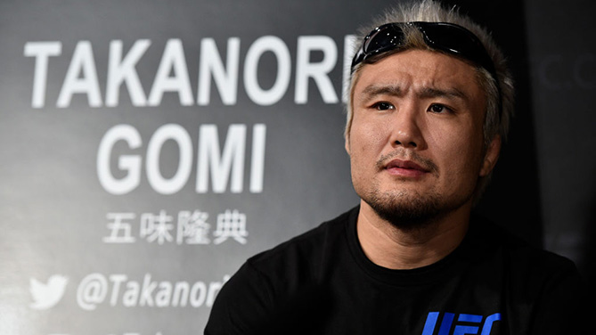 TOKYO, JAPAN - SEPTEMBER 20:  Takanori Gomi of Japan interacts with the media during the UFC Ultimate Media Day at the Park Hyatt on September 20, 2017 in Tokyo, Japan. (Photo by Jeff Bottari/Zuffa LLC)