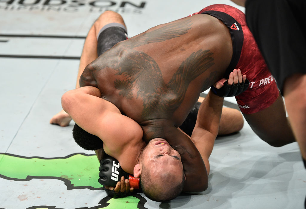 Ovince Saint Preux attempts to submit Yushin Okami during the UFC Fight Night event inside the Saitama Super Arena on September 22, 2017 in Saitama, Japan. (Photo by Jeff Bottari/Zuffa LLC)