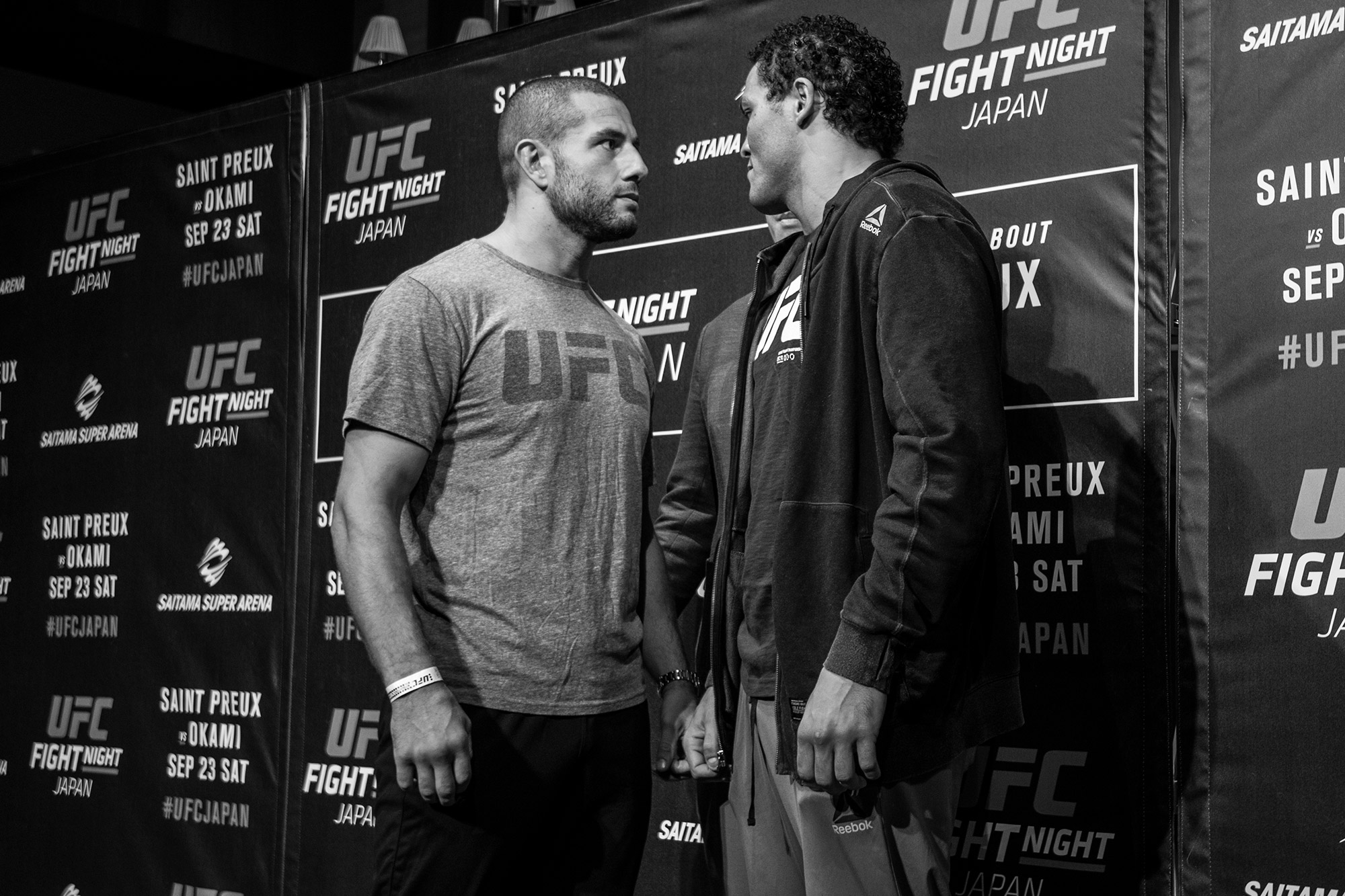TOKYO, JAPAN - SEPTEMBER 20:  (L-R) Opponents Gokhan Saki of Netherlands and Henrique da Silva of Brazil face off during the UFC Fight Night Media Day. (Photo by John Barry/Zuffa LLC)