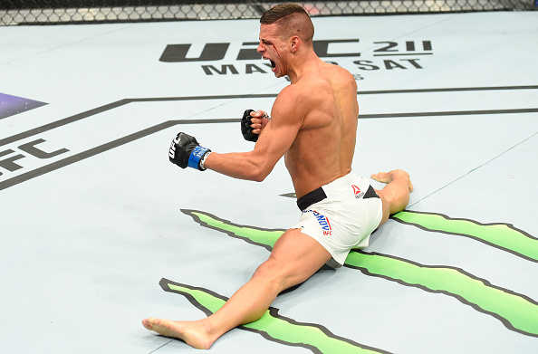 KANSAS CITY, MO - APRIL 15: Tom Duquesnoy of France celebrates his TKO victory over Patrick Williams in their bantamweight fight during the UFC Fight Night event at Sprint Center on April 15, 2017 in Kansas City, Missouri. (Photo by Josh Hedges/Zuffa LLC)