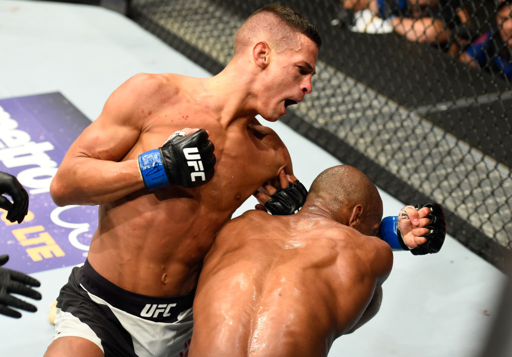 KANSAS CITY, MO - APRIL 15:  (L-R) Tom Duquesnoy of France punches Patrick Williams in their bantamweight fight during the UFC Fight Night event at Sprint Center on April 15, 2017 in Kansas City, Missouri. (Photo by Josh Hedges/Zuffa LLC)