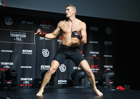 LIVERPOOL, ENGLAND - MAY 24: <a href='../fighter/Stephen-Thompson'>Stephen Thompson</a> in action during the <a href='../event/UFC-Silva-vs-Irvin'>UFC Fight Night </a>open workouts at Space by Echo Arena on May 24, 2018 in Liverpool, England. (Photo by Alex Livesey - Zuffa LLC/Zuffa LLC)