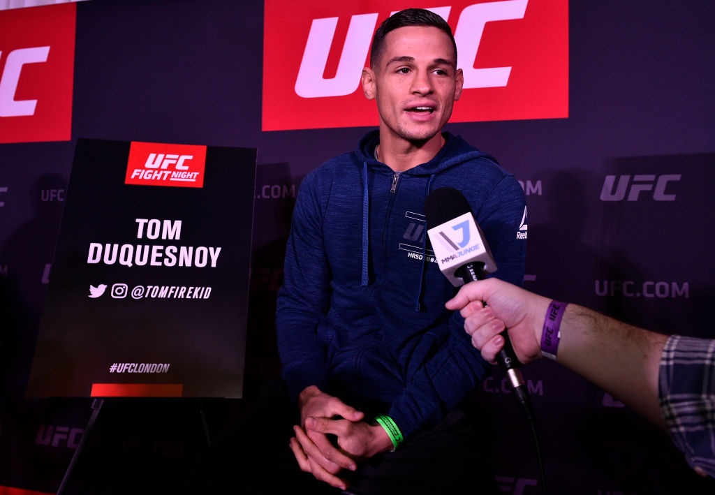 Tom Duquesnoy speaks to the media during Media Day in Glaziers Hall on March 15, 2018 in London, England. (Photo by Brandon Magnus/Zuffa LLC)