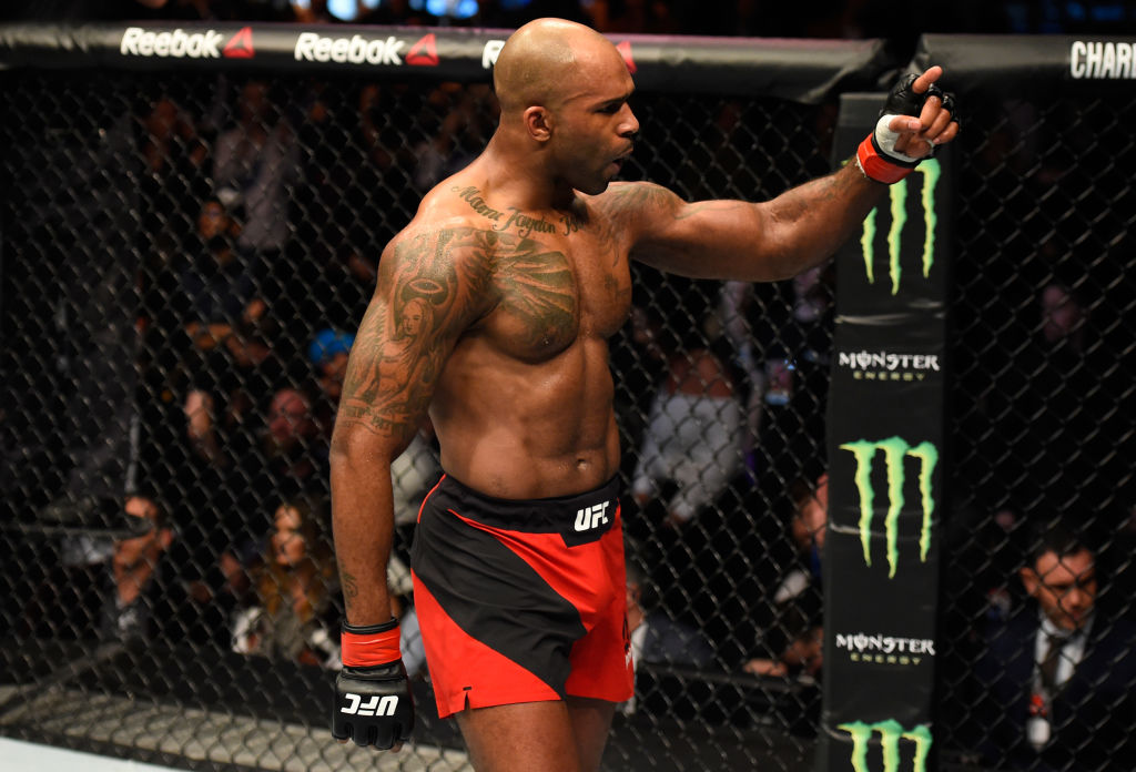 Jimi Manuwa celebrates after finishing Corey Anderson during Fight Night London in March