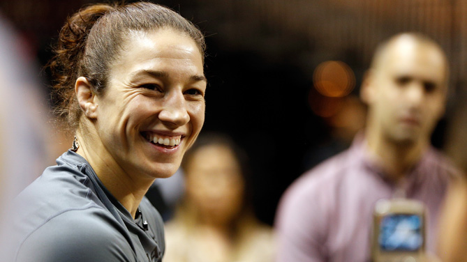 Sara McMann interacts with media after an open training session for fans and media at the Mandalay Bay Events Center on February 19, 2014 in Las Vegas, Nevada. (Photo by Josh Hedges/Zuffa LLC/Zuffa LLC via Getty Images)