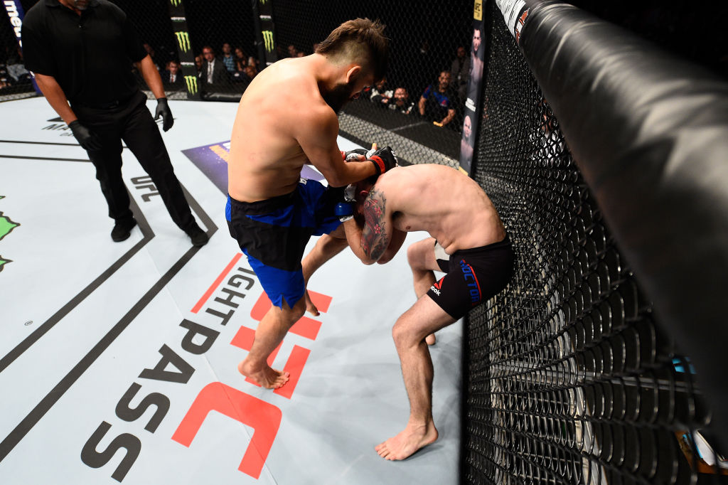 NASHVILLE, TN - APRIL 22:  (L-R) Bryan Barberena lands a knee to the head of Joe Proctor in their welterweight bout during the UFC Fight Night event at Bridgestone Arena on April 22, 2017 in Nashville, Tennessee. (Photo by Jeff Bottari/Zuffa LLC)