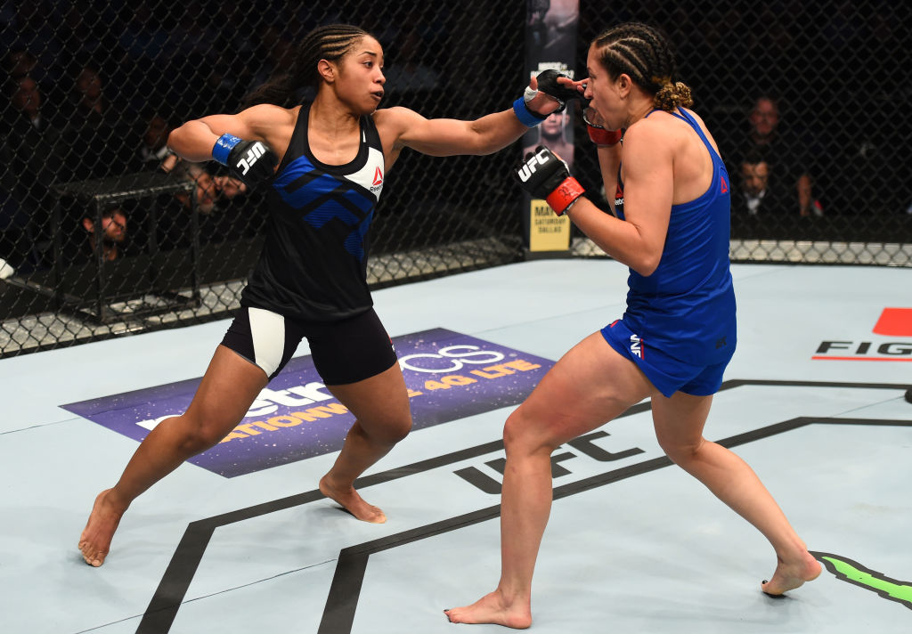 NASHVILLE, TN - APRIL 22: (L-R) Danielle Taylor punches Jessica Penne in their women's strawweight bout during the UFC Fight Night event at Bridgestone Arena on April 22, 2017 in Nashville, Tennessee. (Photo by Jeff Bottari/Zuffa LLC)
