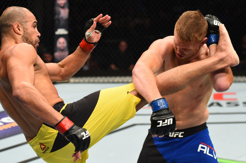NASHVILLE, TN - APRIL 22: (L-R) Thales Leites of Brazil kicks Sam Alvey in their middleweight bout during the UFC Fight Night event at Bridgestone Arena on April 22, 2017 in Nashville, Tennessee. (Photo by Jeff Bottari/Zuffa LLC)