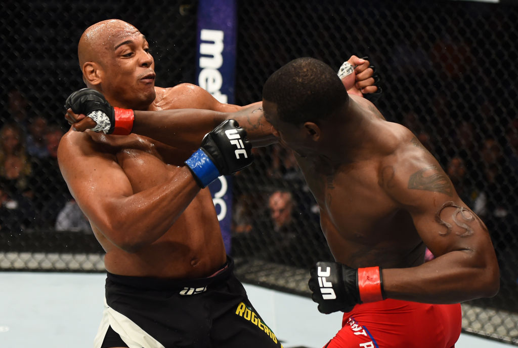 NASHVILLE, TN - APRIL 22:  (R-L) Ovince Saint Preux punches Marcos Rogerio De Lima of Brazil  in their light heavyweight bout during the UFC Fight Night event at Bridgestone Arena on April 22, 2017 in Nashville, Tennessee. (Photo by Jeff Bottari/Zuffa LLC)