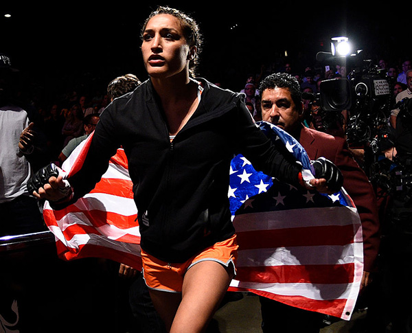 <a href='../fighter/tatiana-saurez'>Tatiana Suarez</a> prepares to enter the Octagon before her women's strawweight bout against <a href='../fighter/amanda-cooper'>Amanda Cooper</a> during <a href='../event/The-Ultimate-Fighter-T-Rampage-vs-T-Forrest-Finale'><a href='../event/The-Ultimate-Fighter-Finale-Team-Nog-vs-Team-Mir'><a href='../event/The-Ultimate-Fighter-Team-Liddell-vs-Team-Ortiz-FINALE'><a href='../event/TUF13-finale'><a href='../event/the-ultimate-fighter-a-champion-will-be-crowned'>The Ultimate Fighter Finale </a></a></a></a></a>event at MGM Grand Garden Arena on July 8, 2016 in Las Vegas, NV (Photo by Jeff Bottari/Zuffa LLC)