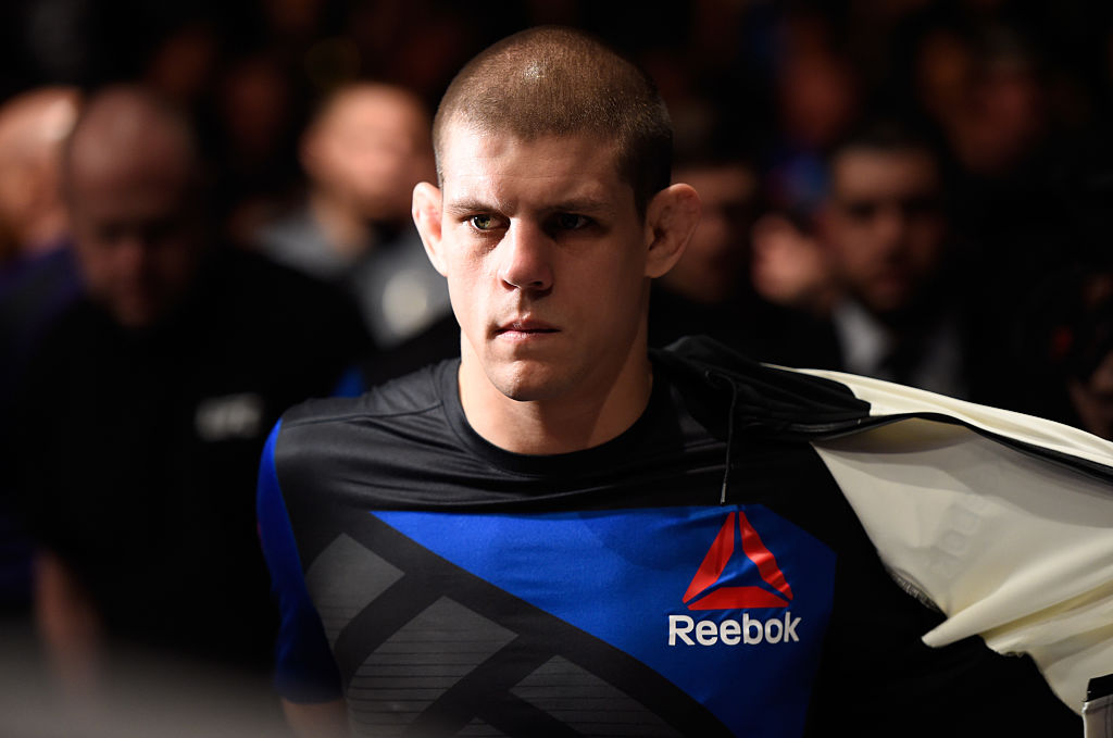 <a href='../fighter/Joe-Lauzon'>Joe Lauzon</a> prepares to enter the Octagon before facing <a href='../fighter/Marcin-Held'>Marcin Held</a> of Poland in their lightweight bout during the <a href='../event/UFC-Silva-vs-Irvin'>UFC Fight Night </a>event inside Talking Stick Resort Arena on January 15, 2017 in Phoenix, Arizona. (Photo by Jeff Bottari/Zuffa LLC)