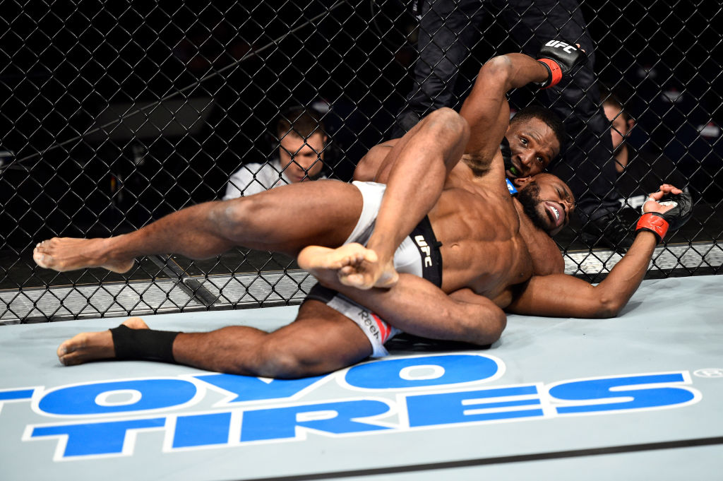 NORFOLK, VA - NOVEMBER 11:  (R-L) Karl Roberson attempts to submit Darren Stewart of England in their middleweight bout during the UFC Fight Night event inside the Ted Constant Convention Center on November 11, 2017 in Norfolk, Virginia. (Photo by Brandon Magnus/Zuffa LLC)