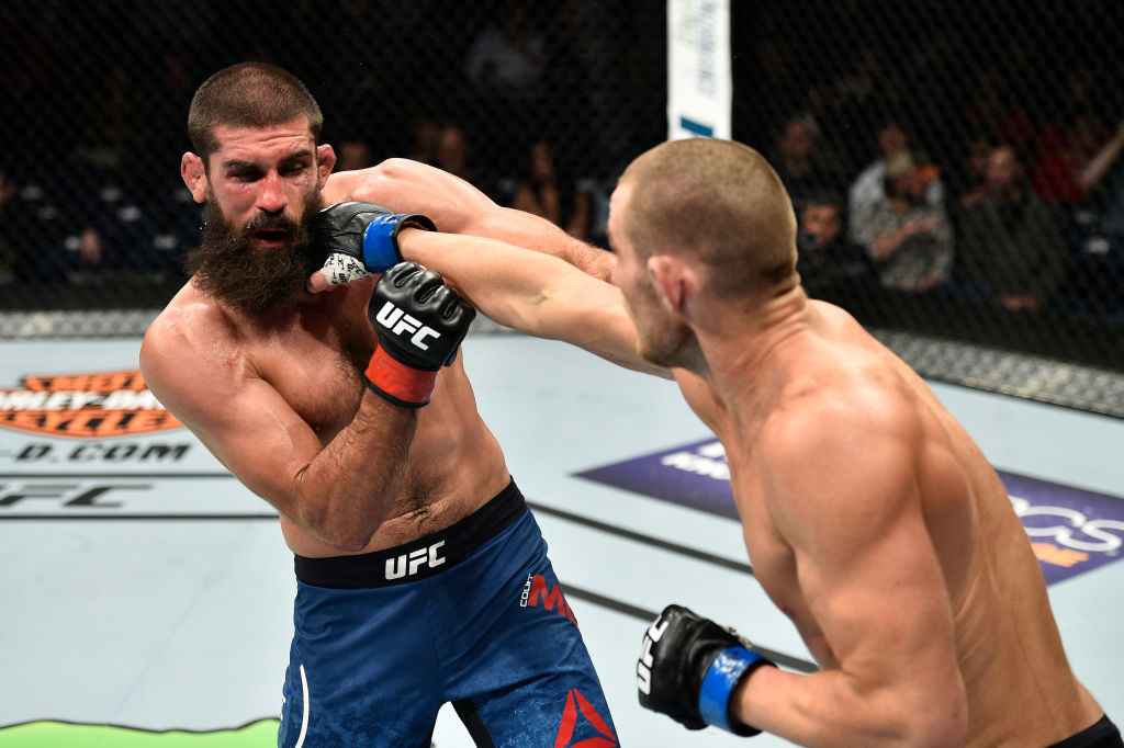 NORFOLK, VA - NOVEMBER 11:  (R-L) Sean Strickland punches Court McGee in their welterweight bout during the UFC Fight Night event inside the Ted Constant Convention Center on November 11, 2017 in Norfolk, Virginia. (Photo by Brandon Magnus/Zuffa LLC)