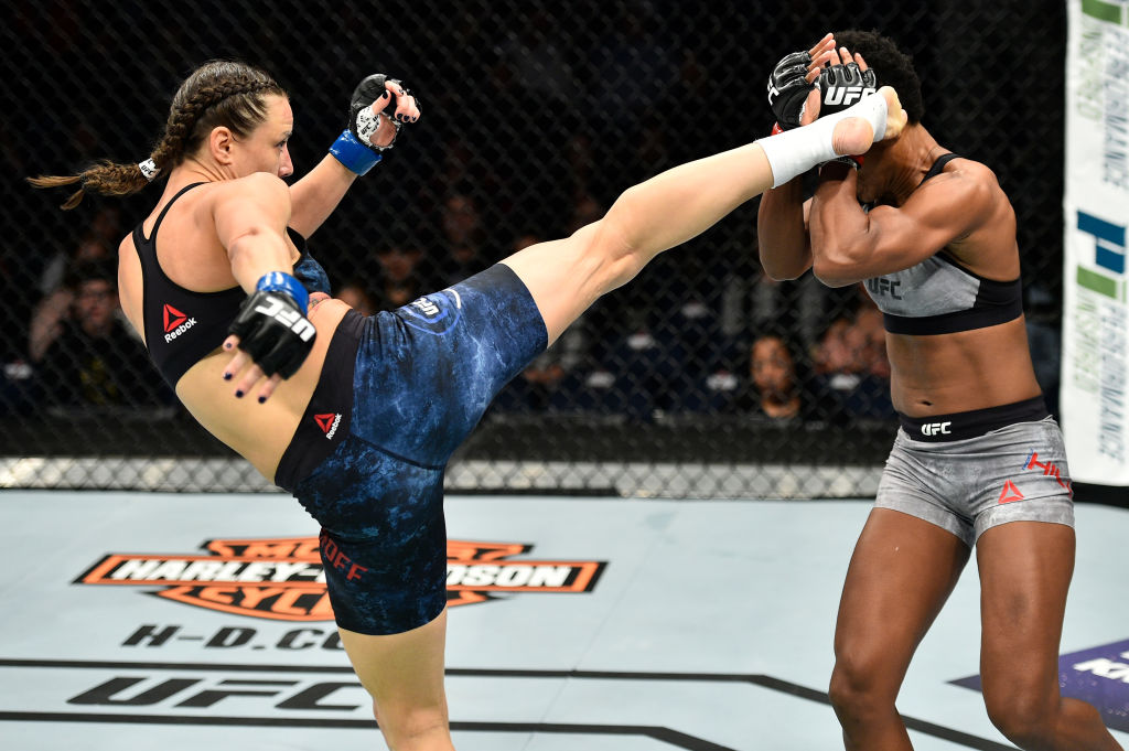 (L-R) Nina Ansaroff kicks Angela Hill in their women's strawweight bout during the UFC Fight Night event inside the Ted Constant Convention Center on November 11, 2017 in Norfolk, Virginia. (Photo by Brandon Magnus/Zuffa LLC)