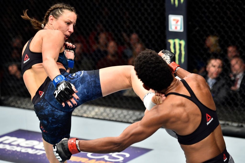 NORFOLK, VA - NOVEMBER 11:  (L-R) Nina Ansaroff kicks Angela Hill in their women's strawweight bout during the UFC Fight Night event inside the Ted Constant Convention Center on November 11, 2017 in Norfolk, Virginia. (Photo by Brandon Magnus/Zuffa LLC)