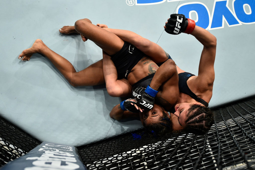 NORFOLK, VA - NOVEMBER 11:  (R-L) Tatiana Suarez controls the body of Viviane Pereira of Brazil in their women's strawweight bout during the UFC Fight Night event inside the Ted Constant Convention Center on November 11, 2017 in Norfolk, Virginia. (Photo by Brandon Magnus/Zuffa LLC)