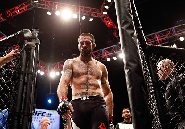 <a href='../fighter/Matt-Brown'>Matt Brown</a> walks out of the Octagon after his welterweight fight during the UFC 189 event inside MGM Grand Garden Arena on July 11, 2015 in Las Vegas, NV. (Photo by Christian Petersen/Zuffa LLC)