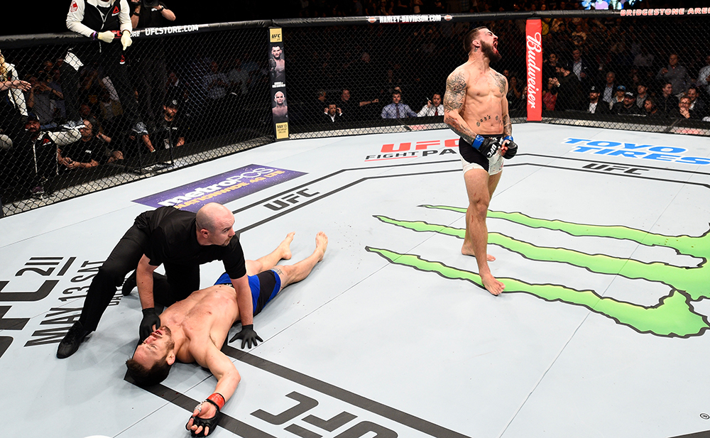 Mike Perry celebrates after his knockout victory over Jake Ellenberger during the <a href='../event/UFC-Silva-vs-Irvin'>UFC Fight Night </a>event at Bridgon April 22, 2017 in Nashville, TN. (Photo by Jeff Bottari/Zuffa LLC)