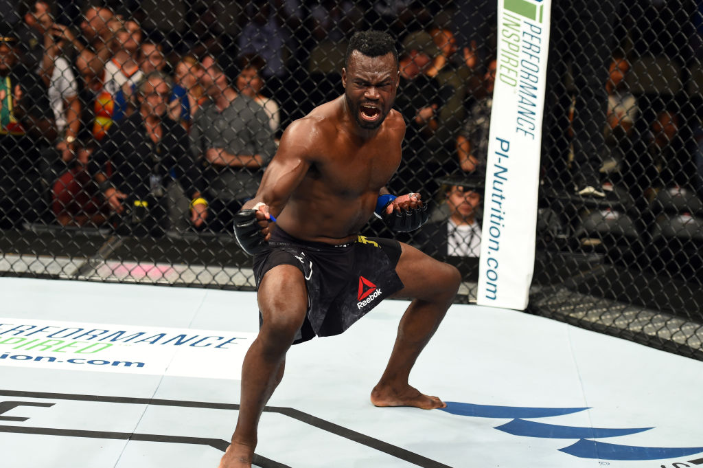 <a href='../fighter/Uriah-Hall'>Uriah Hall</a> of Jamaica celebrates after defeating <a href='../fighter/Krzysztof-Jotko'>Krzysztof Jotko</a> of Poland in their middleweight bout during the UFC Fight Night event inside the PPG Paints Arena on September 16, 2017 in Pittsburgh, Pennsylvania. (Photo by Josh Hedges/Zuffa LLC)
