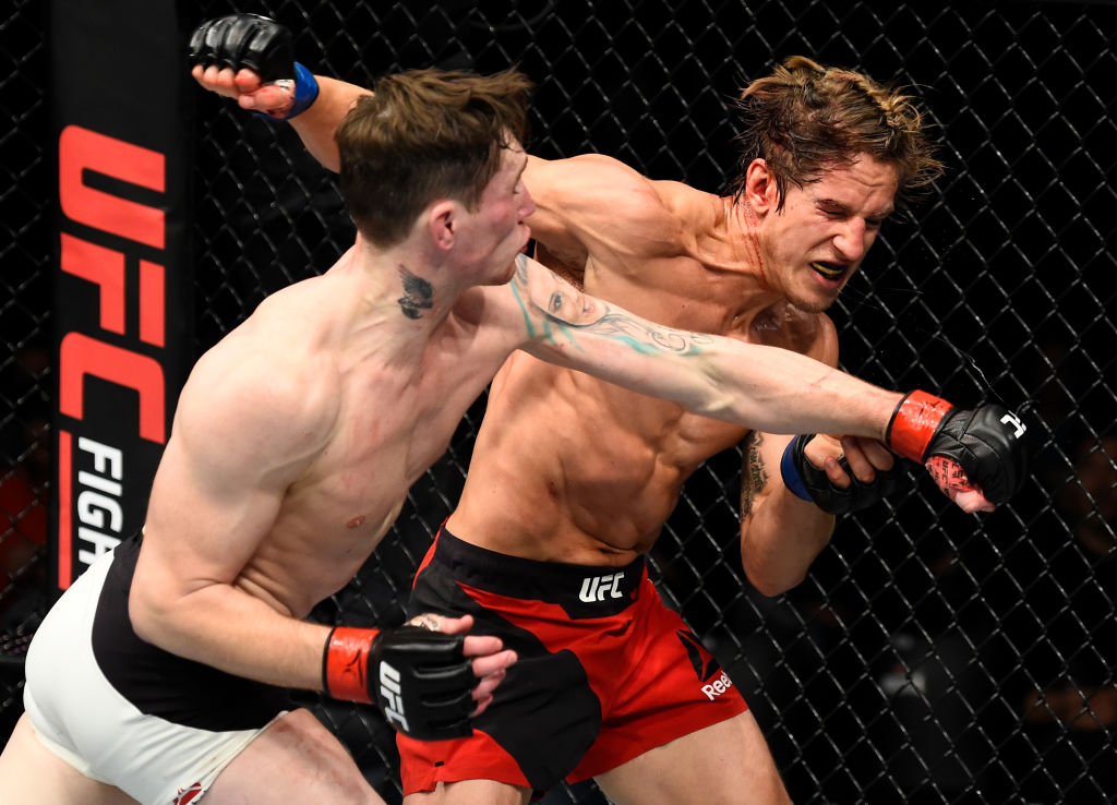 ROTTERDAM, NETHERLANDS - SEPTEMBER 02:  (L-R) Darren Till of England punches Bojan Velickovic of Serbia in their welterweight bout during the UFC Fight Night event at the Rotterdam Ahoy on September 2, 2017 in Rotterdam, Netherlands. (Photo by Josh Hedges/Zuffa LLC)