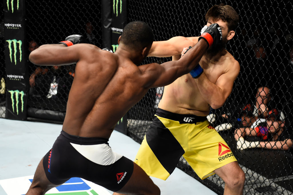 ROTTERDAM, NETHERLANDS - SEPTEMBER 02: (L-R) Leon Edwards of Jamaica punches Bryan Barberena in their welterweight bout during the UFC Fight Night event at the Rotterdam Ahoy on September 2, 2017 in Rotterdam, Netherlands. (Photo by Josh Hedges/Zuffa LLC)