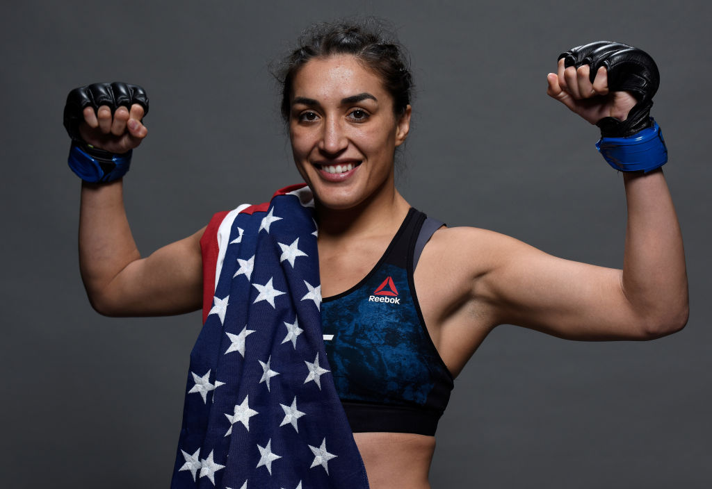 SANTIAGO, CHILE - MAY 19: <a href='../fighter/tatiana-saurez'>Tatiana Suarez</a> poses for a portrait backstage after her victory over <a href='../fighter/alexa-grasso'>Alexa Grasso</a> during the <a href='../event/UFC-Silva-vs-Irvin'>UFC Fight Night </a>event at Movistar Arena on May 19, 2018 in Santiago, Chile. (Photo by Mike Roach/Zuffa LLC/Zuffa LLC via Getty Images)