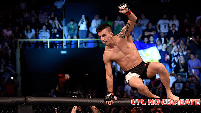 Thomas Almeida of Brazil celebrates victory over Anthony Birchak of the United States in their bantamweight bout during the UFC Fight Night Belfort v Henderson at Ibirapuera Gymnasium on November 7, 2015 in Sao Paulo, Brazil. (Photo by Buda Mendes/Zuffa LLC)