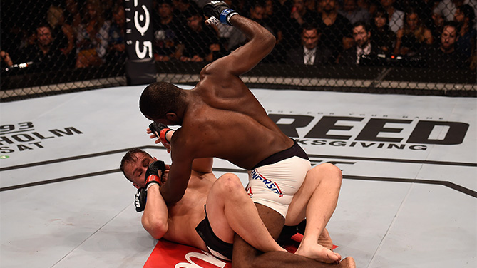 Corey Anderson of the United States punches Fabio Maldonado of Brazil in their light heavyweight bout   during the UFC Fight Night Belfort v Henderson at Ibirapuera Gymnasium on November 7, 2015 in Sao Paulo, Brazil.  (Photo by Buda Mendes/Zuffa LLC)