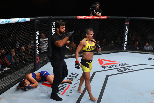 <a href='../fighter/Claudia-Gadelha'>Claudia Gadelha</a> walks off after defeating <a href='../fighter/cortney-casey'>Cortney Casey</a> in Sao Paulo in 2016