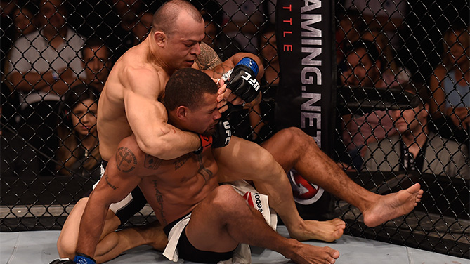 Gleison Tibau of Brazil attempts to submit Abel Trujillo of the United States in their lightweight bout  during the UFC Fight Night Belfort v Henderson at Ibirapuera Gymnasium on November 7, 2015 in Sao Paulo, Brazil.  (Photo by Buda Mendes/Zuffa LLC)