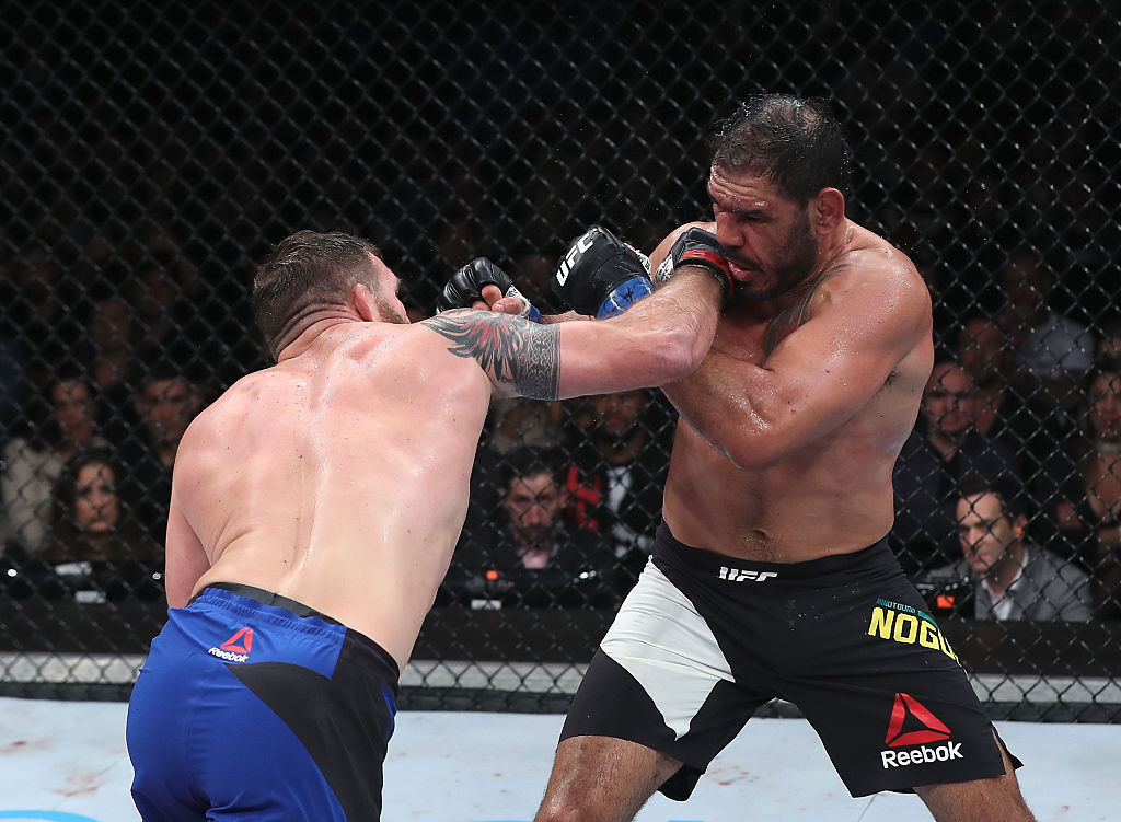 SAO PAULO, BRAZIL - NOVEMBER 19: Ryan Bader of the United States punches Antonio Rogerio Nogueira of Brazil during their light heavyweight bout at UFC Fight Night Bader v Minotouro at Ibirapuera Gymnasium on November 19, 2016 in Sao Paulo, Brazil. (Photo by Buda Mendes/Zuffa LLC)