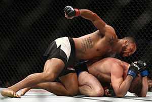 Thiago Santos punches <a href='../fighter/gerald-meerschaert'>Gerald Meerschaert</a> in their middleweight bout during the UFC 213 event at T-Mobile Arena on July 9, 2017 in Las Vegas, Nevada. (Photo by Rey Del Rio/Getty Images)