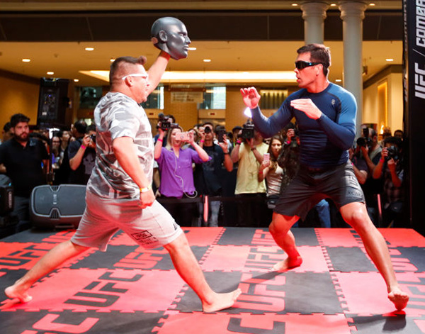 Middleweight contender <a href='../fighter/Lyoto-Machida'>Lyoto Machida</a> practices during the Open Workouts at the Vila Olimpia Mall for the <a href='../event/UFC-Silva-vs-Irvin'>UFC Fight Night </a>Sao Paulo on October 25, 2017 in Sao Paulo, Brazil. (Photo by Alexandre Schneider/Zuffa LLC)