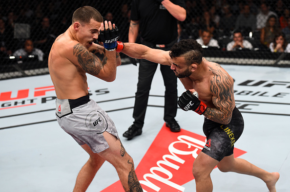 SAO PAULO, BRAZIL - OCTOBER 28:  (R-L) John Lineker of Brazil punches Marlon Vera of Ecuador in their bantamweight bout during the UFC Fight Night event inside the Ibirapuera Gymnasium on October 28, 2017 in Sao Paulo, Brazil. (Photo by Josh Hedges/Zuffa LLC/Zuffa LLC via Getty Images)