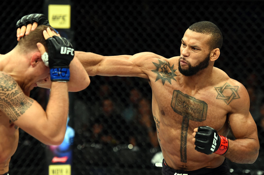 <a href='../fighter/Thiago-Santos'><a href='../fighter/Thiago-Santos'>Thiago Santos</a></a> of Brazil punches <a href='../fighter/jack-hermansson'><a href='../fighter/jack-hermansson'>Jack Hermansson</a></a> of Sweden in their middleweight bout during the UFC Fight Night event inside the Ibirapuera Gymnasium on October 28, 2017 in Sao Paulo, Brazil. (Photo by Josh Hedges/Zuffa LLC)